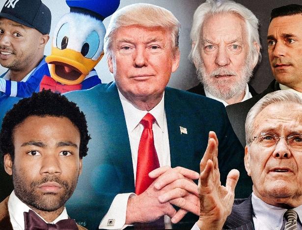 No centro, Donald Trump. Em sentido horário a partir da esquerda: Donald Faison, Pato Donald, Donald Sutherland, Don Draper, Donald Rumsfeld, Donald Glover