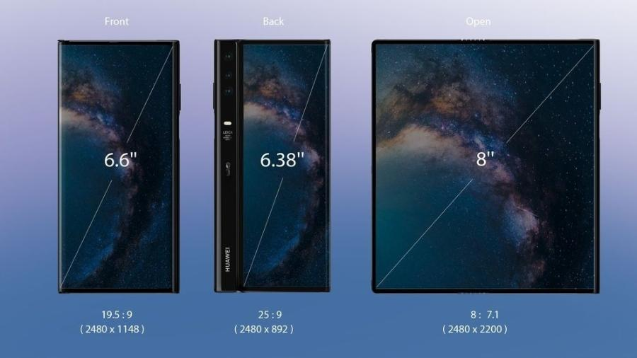 A tela do novo Huawei Mate X chega a 8 polegadas - Divulgação