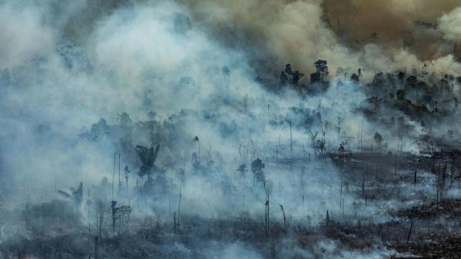 Foto do dia 23 de agosto mostra queimada em Novo Progresso, no Pará - Victor Moriyama/Greenpeace