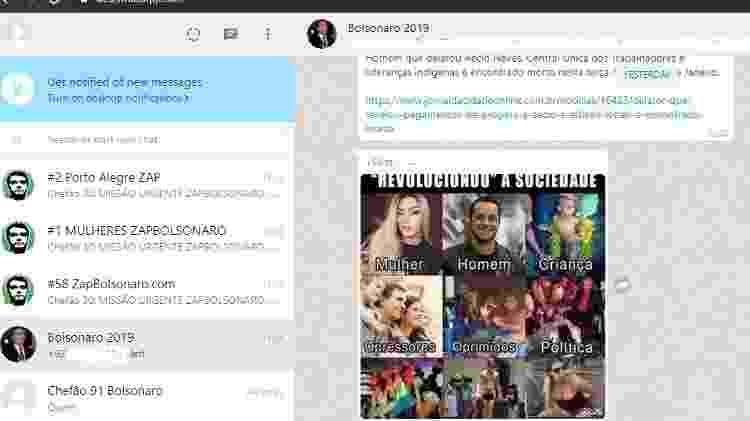 19.set.2019 - Grupo bolsonarista ativo no WhatsApp com participação de contas com características de robô - Reprodução - Reprodução