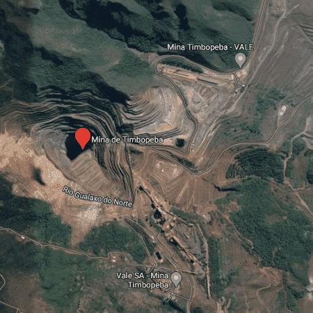 Barragem Doutor, da Mina Timbopeba, próxima de Ouro Preto (MG). - Reprodução/Google Maps