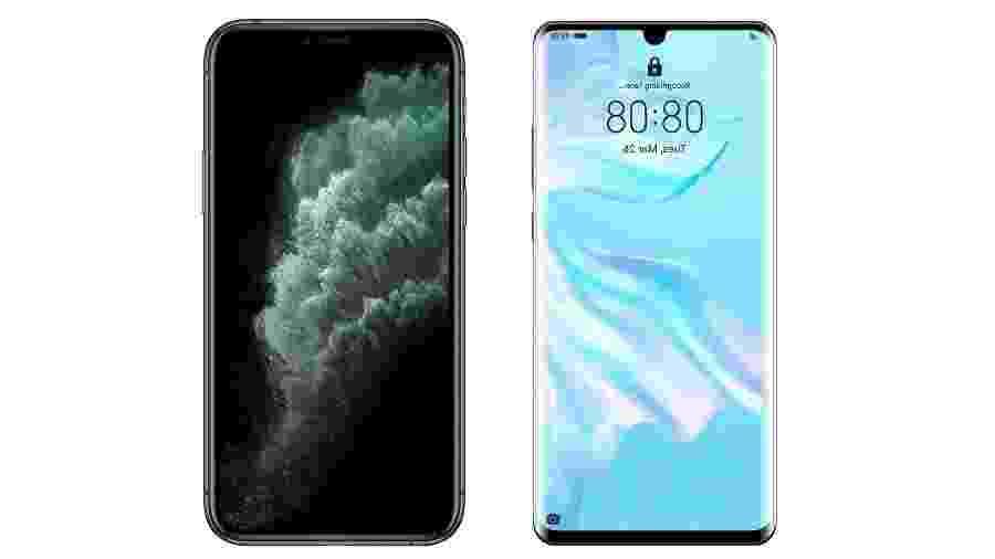 Comparativo iPhone 11 Pro Max x Huawei P30 Pro - Arte/UOL