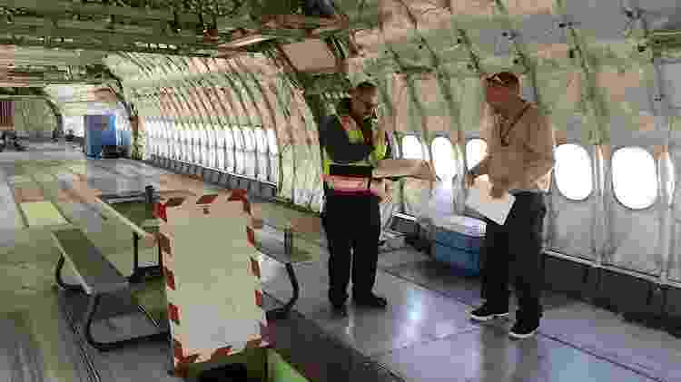 O interior de um DC-10, sem os assentos de passageiros e adaptado para sua nova missão - Divulgação/A10 Tanker - Divulgação/A10 Tanker