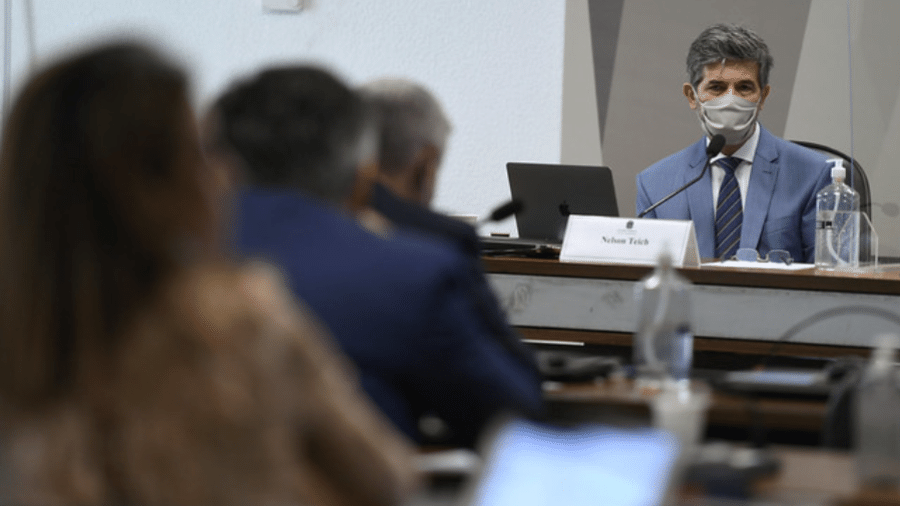 05.mai.2021 - Ex-ministro Nelson Teich presta depoimento na CPI da Covid - Edilson Rodrigues/Agência Senado