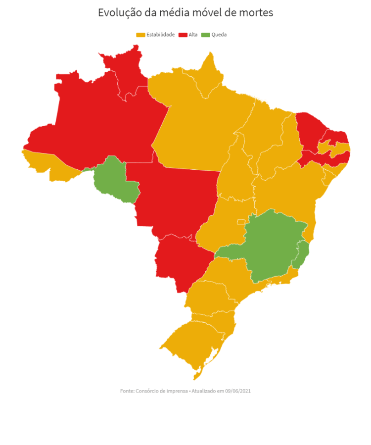 Mapa média móvel nos estados 9/6 - UOL - UOL