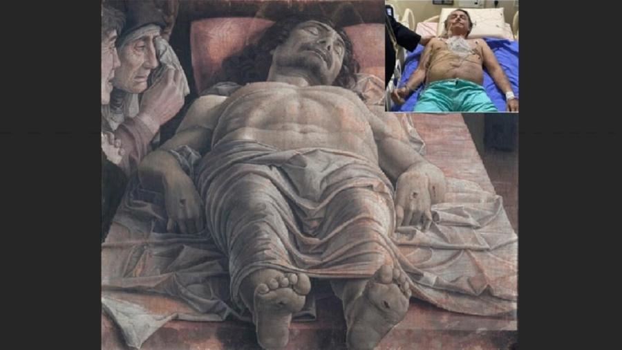 Jair Bolsonaro no leito de hospital, foto publicada em suas redes sociais, e Cristo Morto, de Mantegna, a imagem que inspirou a propaganda do falso Messias e verdadeiro Jair - Reprodução/Reprodução/Montagem