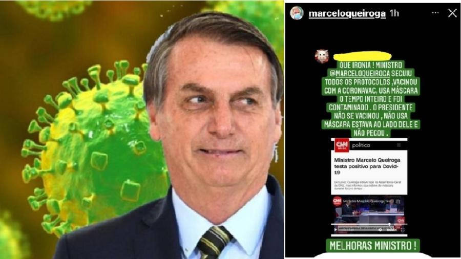 Na montagem, o novo coronavírus vira a sombra de Bolsonaro aonde quer que vá. E a reprodução indecente feita por Marcelo Queiroga - Reprodução; Montagem