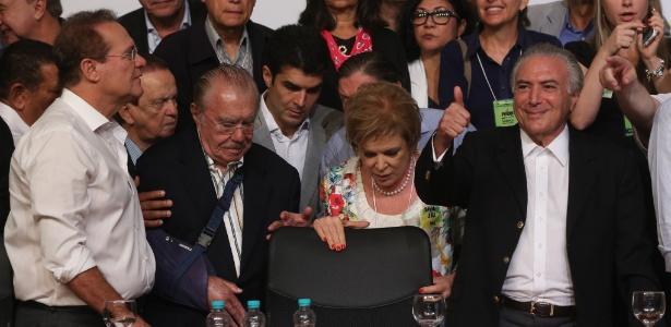 Renan Calheiros, José Sarney, Marta Suplicy e Michel Temer, na convenção nacional do PMDB