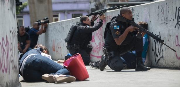 22.set.2017 - Tiroteio na Rocinha, favela da zona sul do Rio de Janeiro