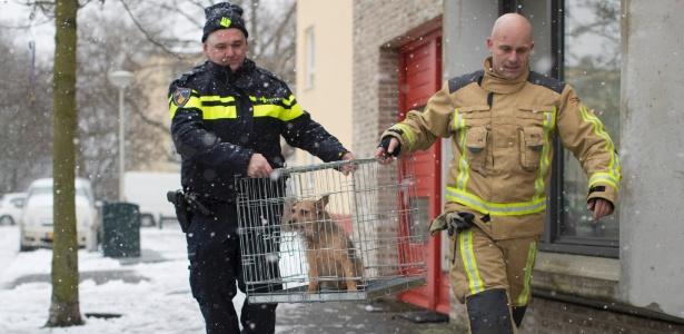 11.dez.2017 - Sargento Erik Smit (esquerda) e um bombeiro resgatam cachorro que havia sido deixado na sacada durante uma nevasca em Haia, na Holanda - Jasper Juinen/The New York Times