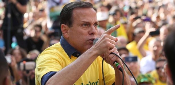 João Doria (PSDB) fala durante ato em apoio a Jair Bolsonaro (PSL), em São Paulo (SP)