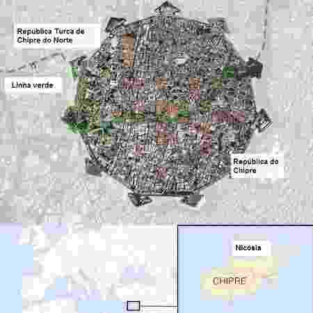 Mapa mostra a divisão de Nicósia - BBC - BBC