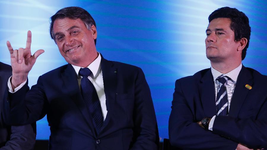O presidente Jair Bolsonaro e o ministro da Justiça e Segurança Pública, Sergio Moro - Rodolfo Buhrer/Foto Arena/Estadão Conteúdo