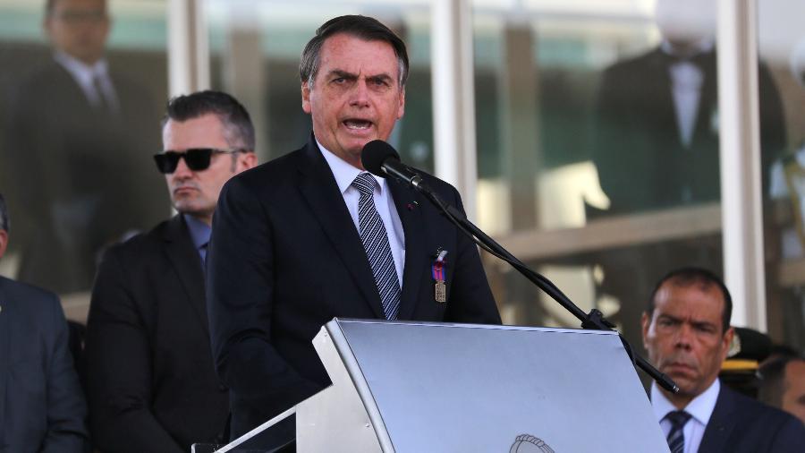 23.ago.2019 - O presidente Jair Bolsonaro (PSL) participa das comemorações do Dia do Soldado em Brasília - Fátima Meira/Futura Press/Estadão Conteúdo
