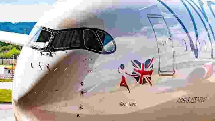 O A350-1000 batizado de Red Velvet será usado na rota entre Londres (Inglaterra) e Nova York (EUA) - Divulgação/Virgin Atlantic
