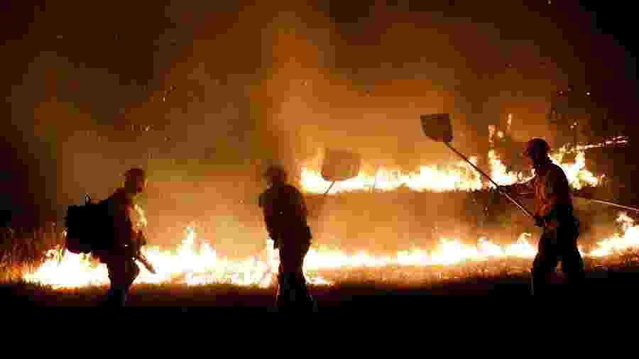 Quatro brigadistas foram presos acusados de causarem os incêndios - Bruno Kelly/Reuters