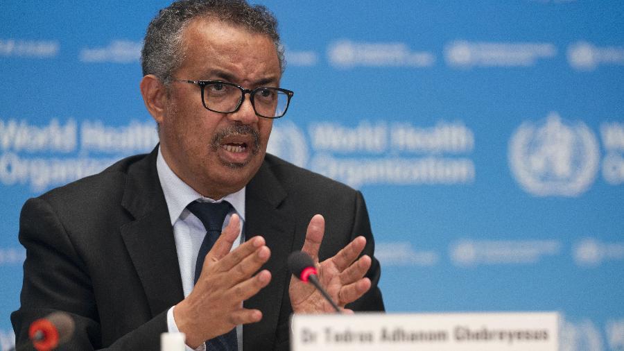 27.mai.2020 - O diretor-geral da OMS (Organização Mundial da Saúde), Tedros Adhanom Ghebreyesus, em coletiva de imprensa sobre o coronavírus - Christopher Black/Organização Mundial da Saúde (OMS)/AFP