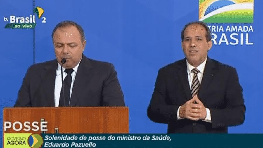 O general Eduardo Pazuello, após 4 meses como interino, toma posse como ministro da Saúde - Reprodução/TV Brasil