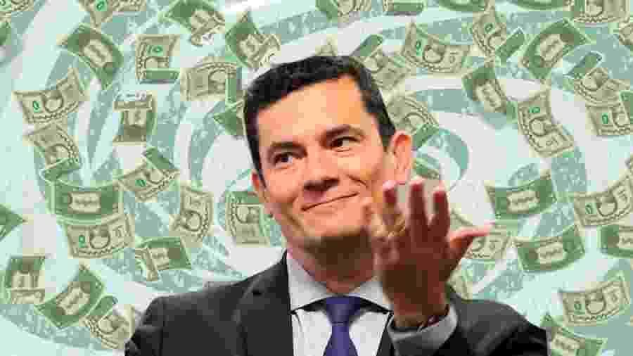 Sergio Moro montagem dinheiro - Montagem sobre foto de Sérgio Lima