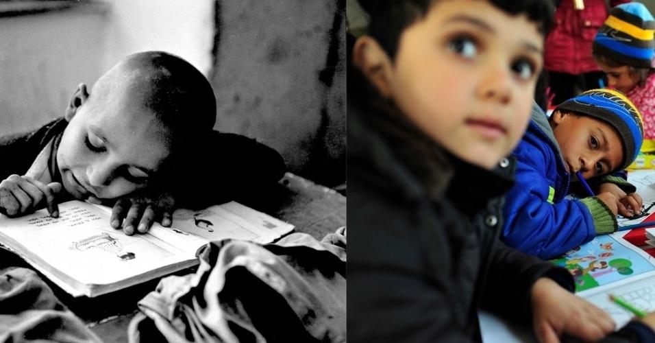 Um garoto refugiado lê um livro na Grécia em 1955. Exatos 60 anos mais tarde, crianças desenham em materiais educacionais em um espaço que conta com o apoio da Unicef, na Sérvia