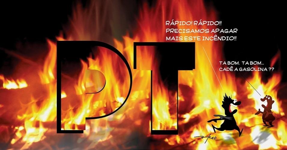 14.mar.2016 - Onde já se viu apagar incêndio com gasolina?