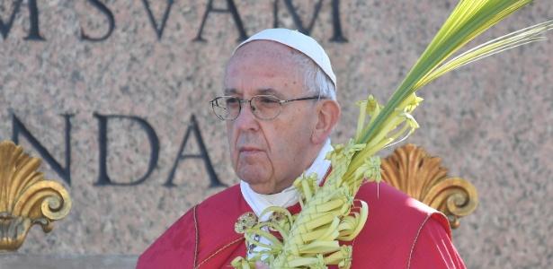 O papa Francisco, durante a celebração deste domingo (9) do Domingo de Ramos