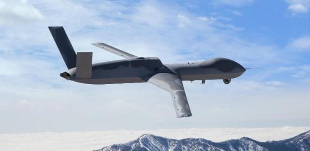 O drone Avenger, que tem uma envergadura de 76 pés e seria potencialmente usado para derrubar mísseis norte-coreanos à medida que eles são lançados