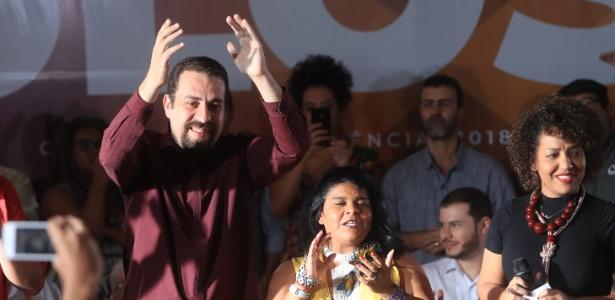 21.jul.2018 - Guilherme Boulos e Sônia Guajajara, a chapa presidencial do PSOL em 2018