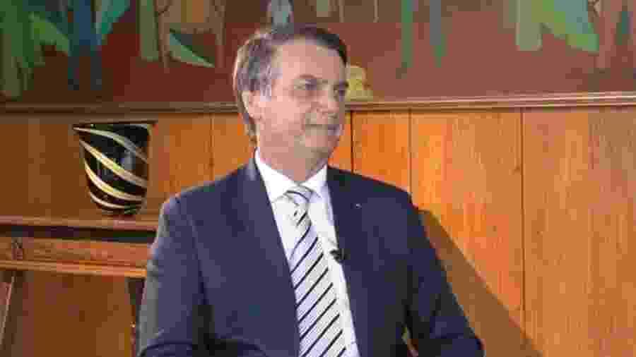 3.jan.2019 - O presidente Jair Bolsonaro (PSL) concede entrevista ao SBT - Reprodução/SBT