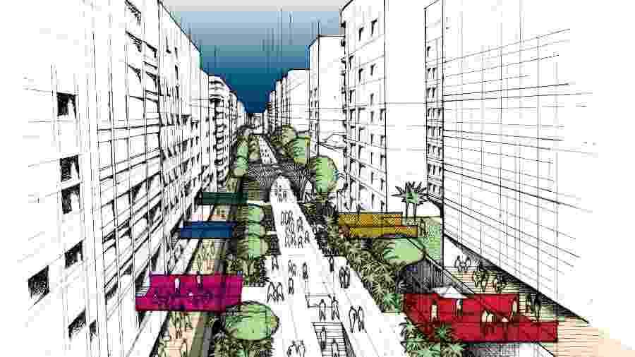 Desenho do projeto de como ficará o Minhocão quando virar parque - Prefeitura de São Paulo