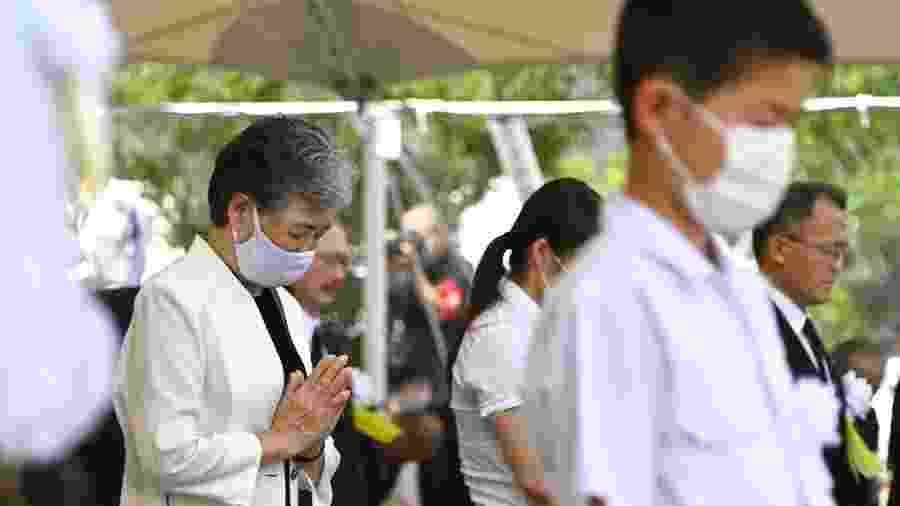 Momento de silêncio em cerimônia em memória aos 75 anos do ataque a Nagasaki, no Japão - Jiji Press/AFP