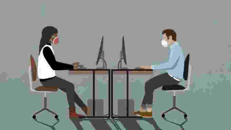 O modelo de escritório tradicional pode deixar de existir no futuro motivado pelo teletrabalho iniciado em massa durante a pandemia de covid-19 - Malte Mueller/Getty Images