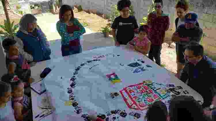 Grupo de crianças faz exercício de cartografia com equipe do Quebrada Maps - Arquivo pessoal/ Wellington Fernandes - Arquivo pessoal/ Wellington Fernandes
