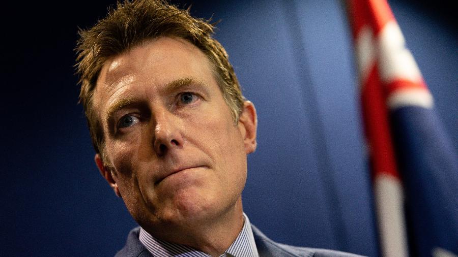 3.mar.2021 - Procurador-geral da Austrália, Christian Porter, em entrevista coletiva sobre acusação de estupro - Richard Wainwright/Reuters