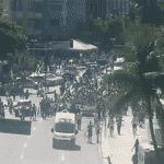 11.abr.2021 - Câmeras do Centro de Operações do Rio registram o ato pró-Bolsonaro em Copacabana, no Rio de Janeiro - Centro de Operações do Rio