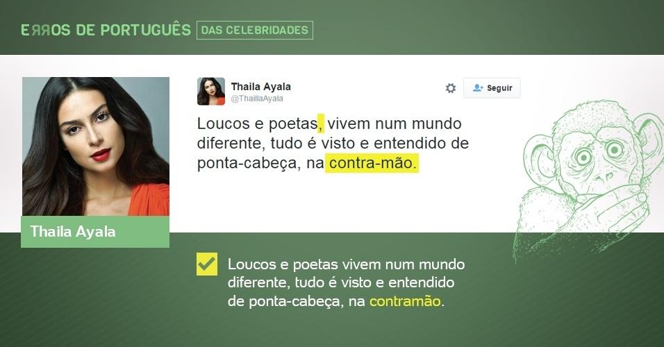 erros de português de celebridades - Thaila Ayala