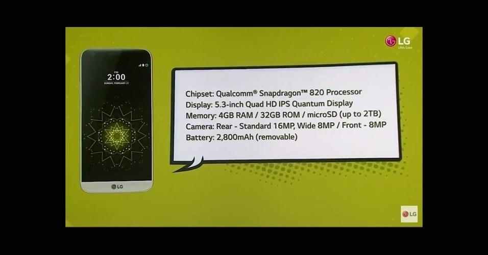 21.fev.2016 - Com tela de 5,3 polegadas e resolução de 2560x1440, o G5 é integrado pelo processador Snapdragon 820 quad-core [novo chip da Qualcomm]. Conta ainda com 4 GB de memória RAM, leitor de impressões digitais e uma entrada USB-C [novo padrão USB]