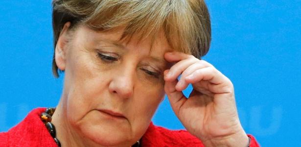 A chanceler (premiê) alemã, Angela Merkel, dá coletiva na sede de seu partido, a CDU, em Berlim