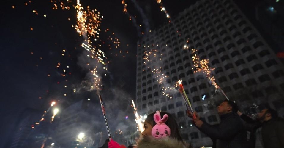 Sul-coreanos celebram a chegada do Ano-Novo em Seul