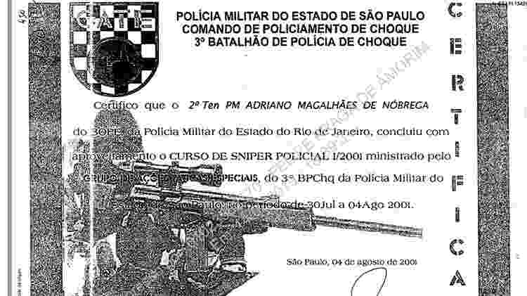 Em 2001, Adriano Magalhães da Nóbrega concluiu curso de sniper em São Paulo - Reprodução