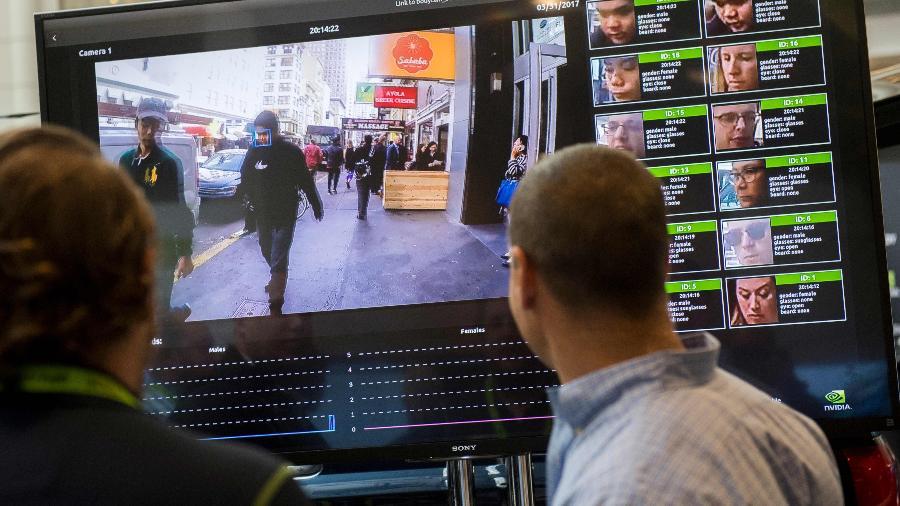 Sistema de reconhecimento facial, que poderá ser usado pela polícia com mais frequência - Saul Loeb/AFP