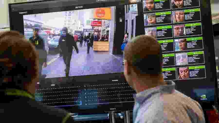 Sistema de reconhecimento facial apresentado pela Nvidia; San Francisco proibiu agências públicas de usarem ferramentas assim - Saul Loeb/AFP
