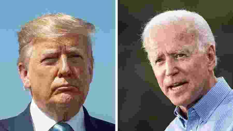 Informante diz que Trump pediu a líder ucraniano para investigar Biden (dir.) e seu filho - Reutes/Getty Images/BBC