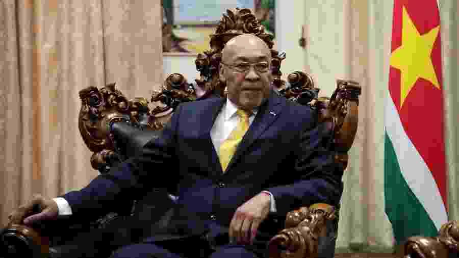 27.jul.2019 - Presidente do Suriname, Dési Bouterse, durante um encontro com o chanceler russo Sergey Lavrov - Ranu Abhelakh/Foto de arquivo/Reuters