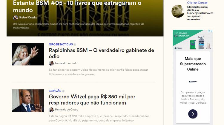 Exemplo de publicidade programática estampada na página principal do site Brasil Sem Medo - Reprodução