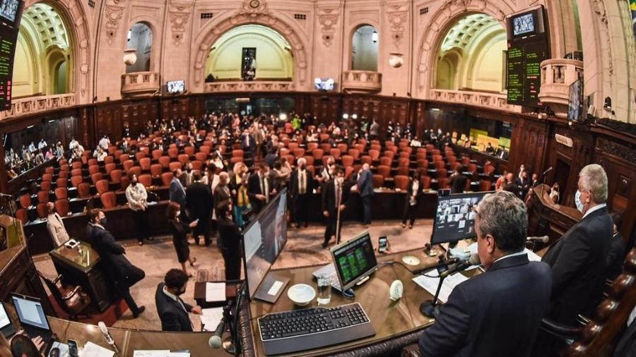 23.set.2020 - Deputados votam relatório do impeachment contra Wilson Witzel na Alerj - Julia Passos/ Alerj
