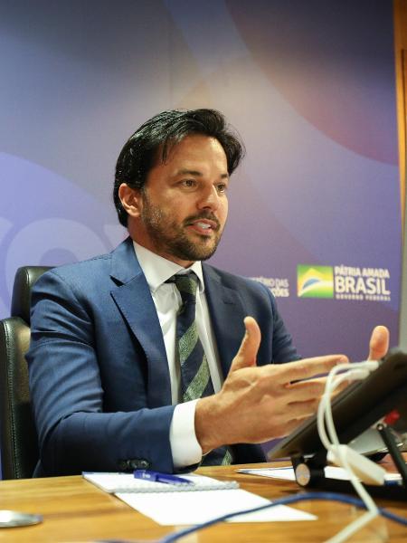 Ministro das Comunicações, Fábio Faria durante videoconferência com o Grupo Santander - Cléverson Oliveira/Ministério das Comunicações