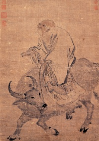 Lao Tze, fundador do taoísmo, montado sobre um búfalo