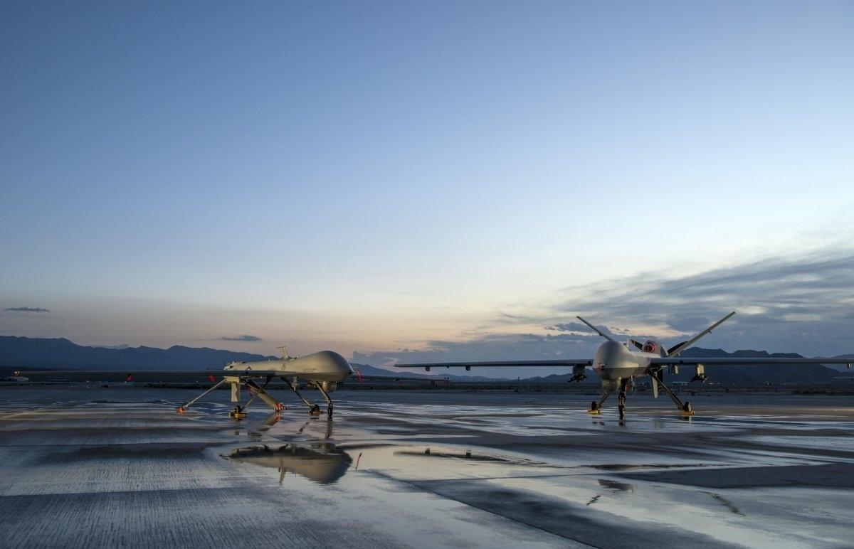 13.jan.2016 - Aeronaves utilizadas para vigilância e reconhecimento durante operações de liberdade no Iraque, em ações contra o Estado Islâmico, ficaram estacionadas na base da Força Aérea dos Estados Unidos em Creech, em Nevada