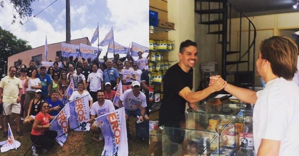 1.out.2016 - Em seu último ato de campanha, Eros Biondini (PROS), candidato a prefeito de Belo Horizonte, visitou o bairro Jaraguá. Ele postou imagens em suas redes sociais